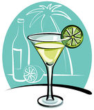 Cocktail Margarita. With lime on the table stock illustration