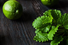 Cocktail margarita with limes and mint Stock Image