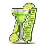Cocktail Margarita. Vector illustration of alcohol Cocktail Margarita: garnish of sliced lime and salt on glass of mexican tequila cocktail, logo with green Stock Images