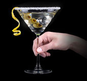 Cocktail martini on a black Stock Image