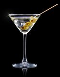 Cocktail martini on a black Royalty Free Stock Photography