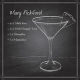 Cocktail Mary Pickford on black board Stock Images