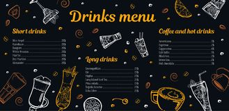 Cocktails, coffee and hot drinks menu design template with list of drinks and images. Vector outline sketch hand drawn illustration with blackboard background royalty free illustration