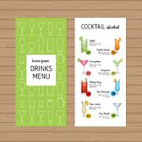 Cocktail menu design. Alcohol drinks leaflet and flyer layout te. Mplate. Bar menu brochure with modern graphic. Vector illustration Royalty Free Stock Photos