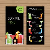 Cocktail menu design. Alcohol drinks leaflet and flyer layout te. Mplate. Bar menu brochure with modern graphic. Vector illustration Stock Image