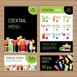 Cocktail menu design. Alcohol drinks. A4 size and flyer layout t. Emplate. Bar menu brochure with modern graphic. Front page and back page. Vector illustration Royalty Free Stock Photo