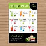 Cocktail menu design. Alcohol drinks. A4 size and flyer layout t. Emplate. Cover bar menu brochure with modern graphic. Vector illustration Royalty Free Stock Photography