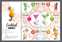 Cocktail menu design. Cocktail bar Royalty Free Stock Images