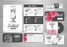 Cocktail menu document template. Stock Images