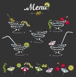 Cocktail menu set. Decorations for cocktail menu set royalty free illustration