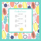 Cocktail menu template. Different tropical fruits on background Stock Photography