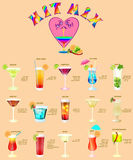 Cocktail menu,which consists of popular drinks. Royalty Free Stock Photos