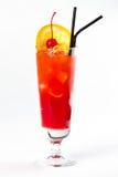 Cocktail met citroen en kers Stock Foto