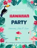 Cocktail met hibiscusbloemen en palmbladen Uitnodiging, banner, kaart, affiche, vlieger Royalty-vrije Stock Fotografie