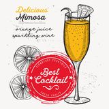 Cocktail mimosa drink flyer for bar. Cocktail mimosa for bar menu. Vector drink flyer for restaurant and cafe. Design poster with vintage hand-drawn royalty free illustration