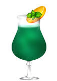 Cocktail mint green. Illustration of a refreshing fizzy green Cocktail with  crushed ice, garnished with a slices of orange and fresh spearmint Royalty Free Stock Image