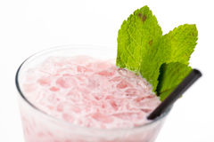 Cocktail with mint. Pink cocktail with ice and mint Stock Photography
