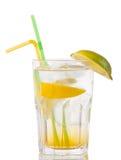 Cocktail mit Gin und Orange mit Eis auf Weiß lizenzfreie stockbilder
