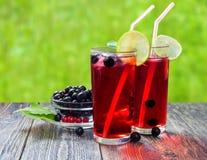 Cocktail mit Saft und Kalk der Schwarzen Johannisbeere lizenzfreie stockbilder