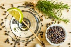 Cocktail mit Zitronenscheibe Stockbild