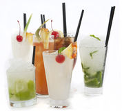 Cocktail mix. Collection of Rum Cocktails on white background Stock Images