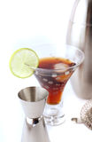 Cocktail mixer. Isolated alcohol drink with metal shaker Stock Image
