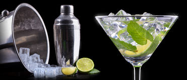 Cocktail mojito on a black Royalty Free Stock Photos