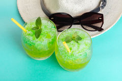 Cocktail mojito and hat Royalty Free Stock Photography