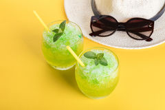 Cocktail mojito and hat Royalty Free Stock Photos