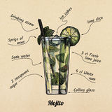 Cocktail mojito and its ingredients Stock Images