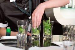 Cocktail mojito. Preparation Stock Image