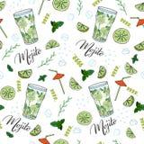 Cocktail Mojito. Seamless pattern. vector illustration