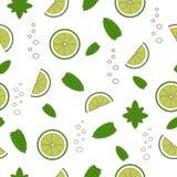 Cocktail Mojito seamless pattern. Hand draw. Cocktail Mojito seamless pattern. Hand drawn illustration. Nature organic style Stock Photography