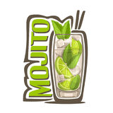 Cocktail Mojito. Vector illustration of alcohol Cocktail Mojito: full glass with transparent cocktail, sliced lime, cubes of ice, green leaves of herb mint stock illustration