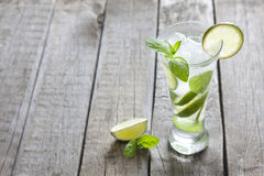 Cocktail Mojito on vintage wooden table Royalty Free Stock Image