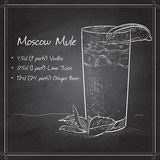 Cocktail Moscow Mule on black board. Cocktail with ginger and lime Moscow Mule on black board Stock Photo