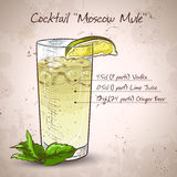 Cocktail Moscow mule. Cocktail with ginger and lime Moscow mule Royalty Free Stock Photos