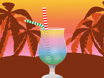 Cocktail. Multi-colored cocktail amid palm trees and sunset sky stock illustration