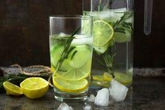 Cocktail não alcoólico da bebida de frutos frescos: pepino, cal, alecrim Conceito de uma bebida saudável Fundo oxidado do metal imagens de stock