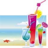 Cocktail na praia ilustração stock
