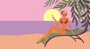 Cocktail na praia Imagens de Stock