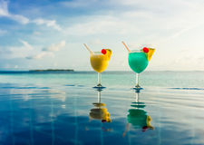 Cocktail near the swimming pool Royalty Free Stock Photo