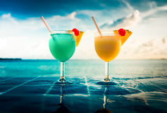 Cocktail near the swimming pool Royalty Free Stock Photography