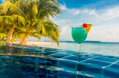 Cocktail near the swimming pool Stock Image