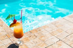 Cocktail near the swimming pool. The orange cocktail near the swimming pool Stock Images