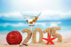 Cocktail and New year sign Stock Photos