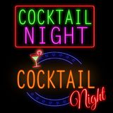 Cocktail night glowing neon sign Royalty Free Stock Images