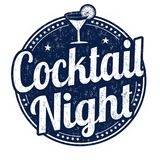 Cocktail night grunge rubber stamp Stock Photos