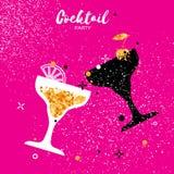Cocktail no vidro com elementos dourados do brilho ilustração royalty free