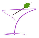 Cocktail with olive. Illustration background Royalty Free Stock Photography